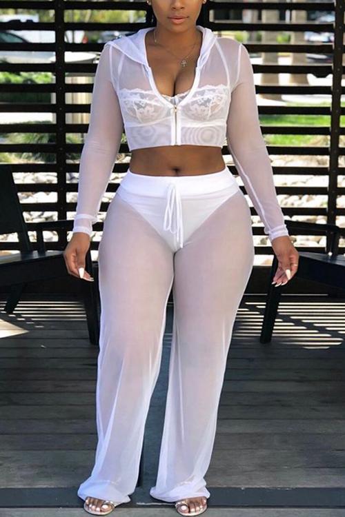Precioso Collar Con Capucha Sexy Transparente Cordón Blanco Pantalones De Dos Piezas De Poliéster (sin Recubrimiento)