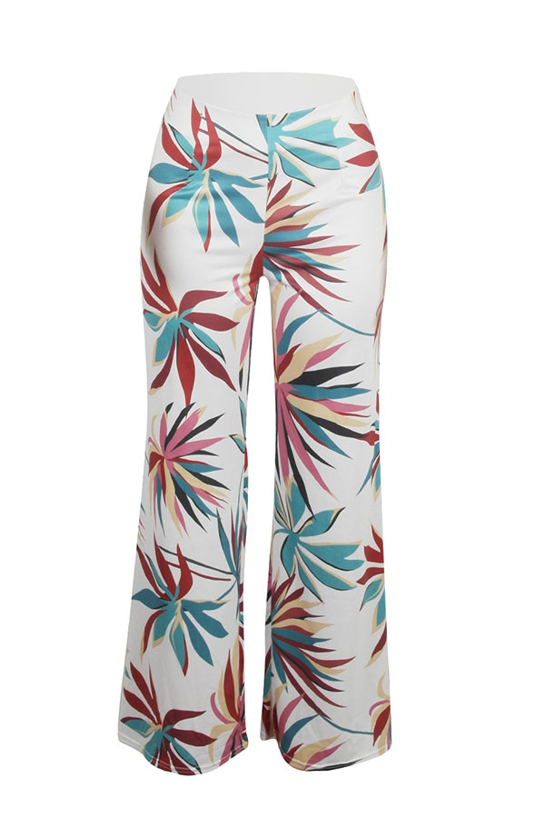 Lovely Trendy Mid Waist Floral Printed White Polyester Zipped Pants