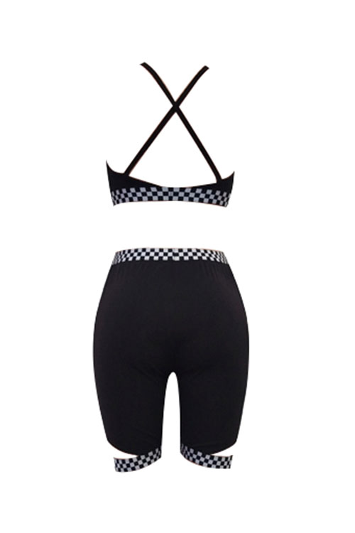 Lovely Sexy V Neck Plaids Printed Black Polyester Two-piece Shorts Set