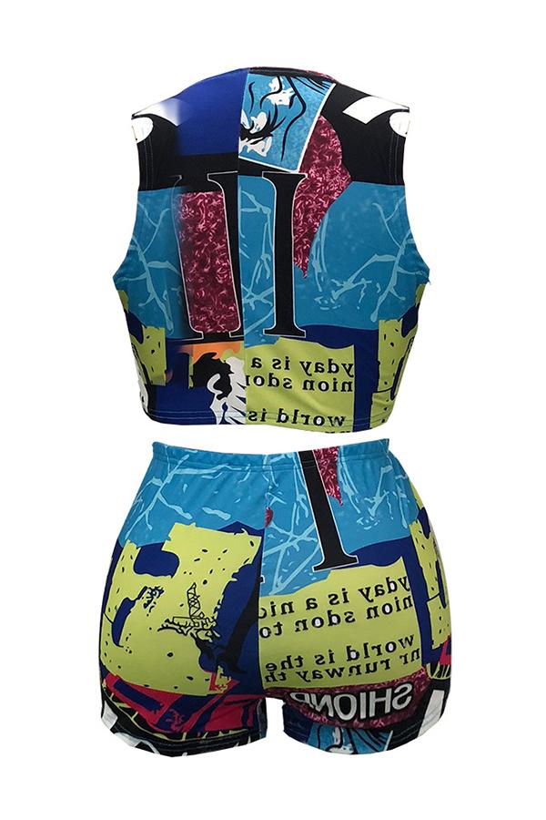 Encantadora Moda V Cuello Vendaje Impresión Poliéster Dos Piezas Conjunto
