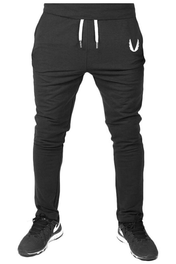 Pantalones Casuales De Algodón Negro Con Cordón En La Cintura