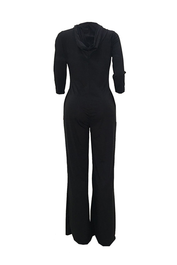Lovely Trendy Hooded Collar Three Quarter Sleeves Black Polyester One-piece Jumpsuits