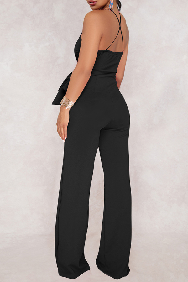 Lovely Elegant V Neck SleeveLess Black Polyester One-piece Jumpsuits(With Belt)