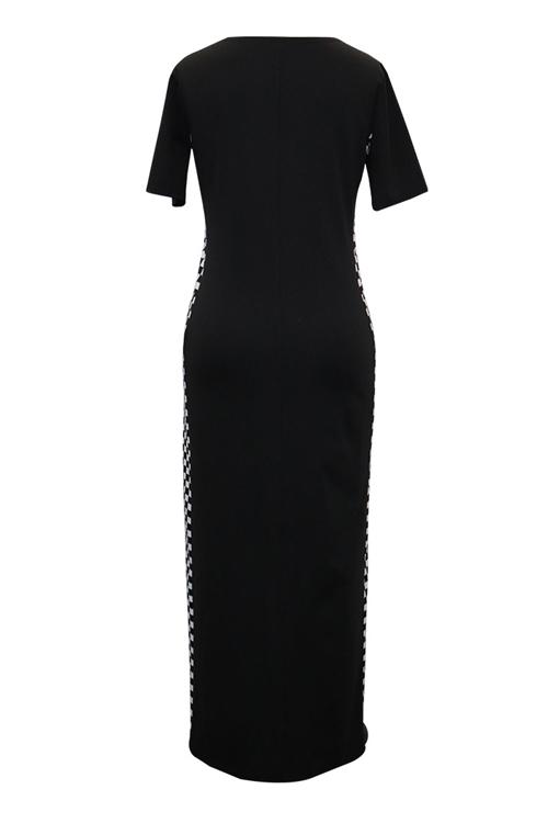 Lovely Fashion Round Neck Grid Printed Black Blending Ankle Length Dress