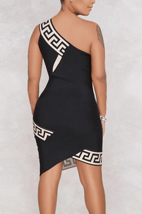 Lovely Elegant Show A Shoulder Printing Black Milk Fiber Knee Length Dress