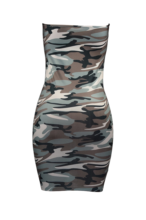 LovelyFashion Bateau Neck Camouflage Printed Grey Polyester Mini Dress