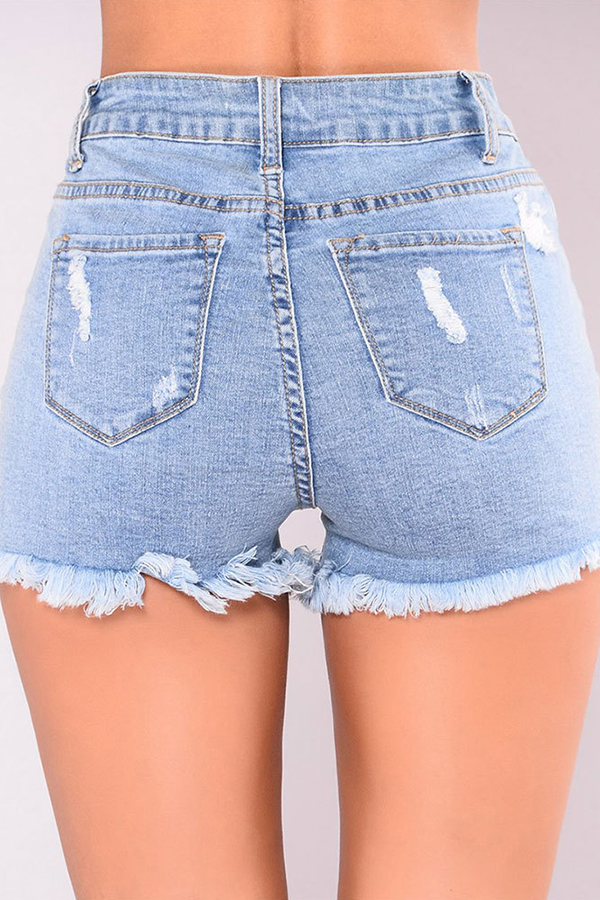 Lovely Trendy High Waist Broken Holes Baby Blue Denim Zipped Shorts