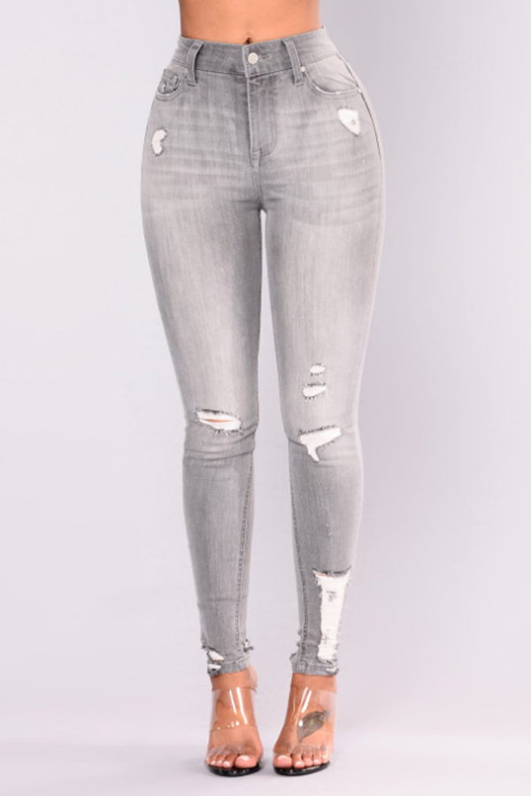 Lovely Fashion Mid Waist Broken Holes Light Grey Denim Zipped Jeans