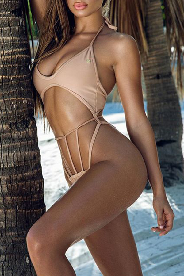Lovely Stylish U Neck Hollow-out Pink Polyester One-piece Swimwears
