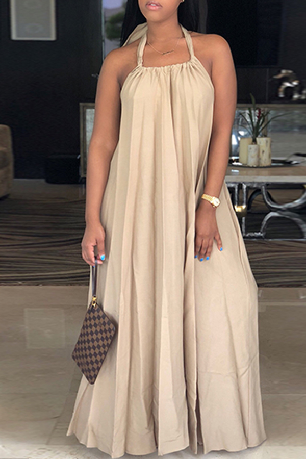 LovelyLeisure Halter Neck Backless Khaki Polyester Floor Length Dress