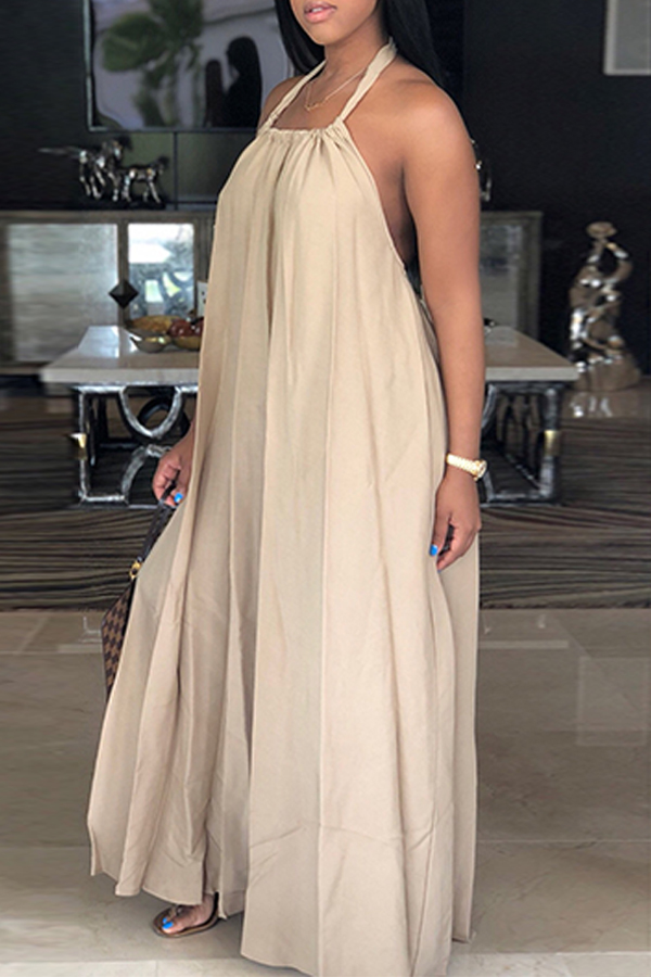 LovelyLeisure Halter Neck Backless Khaki Polyester Floor Length Dress