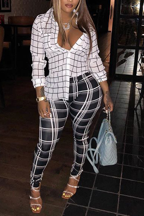 Lovely Leisure Long Sleeves Grid White  Shirts