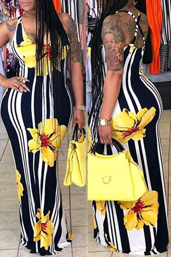 Lovely Lovelywholesale Casual Striped Print Yellow