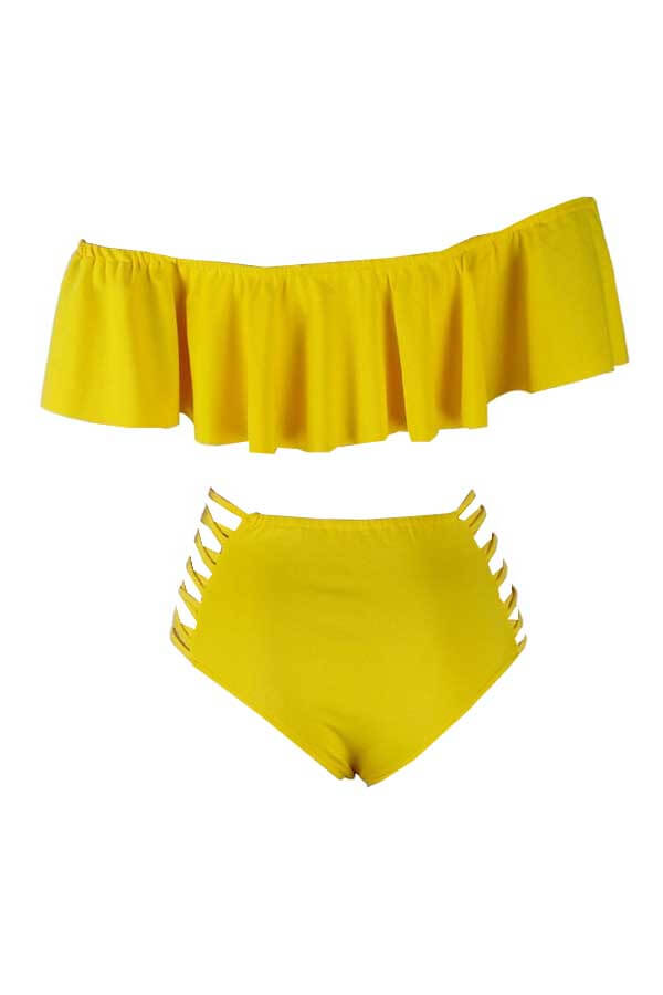LovelyPretty Bateau Neck Flounce Yellow Polyester Two-piece Swimwears