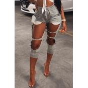 Moda Encantadora Mediados De Cintura Elástica Agujeros Rotos Mezclas De Algodón Gris Pantalones Harlan