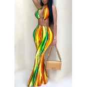 LovelyEuramerican Backless Striped Printed Yellow One-piece Jumpsuits