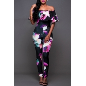 Lovely Sexy Bateau Neck Flounce Floral Printed Bla