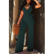 Lovely Elegant V Neck SleeveLess Army Green Polyester One-piece Jumpsuits(With Belt)