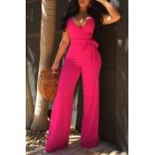 Lovely Elegant V Neck SleeveLess Rose Red Polyester One-piece Jumpsuits(With Belt)