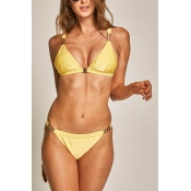 Lovely Leisure Yellow Spandex Two-piece Swimwears