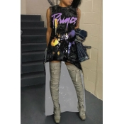 Lovely Trendy Printed Asymmetrical Purple Milk Fiber Ankle Length Dress