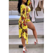 Lovely Sexy Hollow-out Floral Printed Yellow  Two-piece Swimwear(With Cover-up)