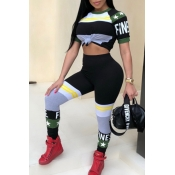 LovelyTrendy Round Neck Striped+Letters Printed Army Green Polyester Two-piece Pants Set