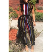 Lovely Sexy Round Neck Ruffle Striped Patchwork Re