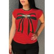 Precioso Cuello Redondo Redondo Impreso Mezcla De Algodón Rojo Camiseta