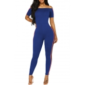 Lovely Trendy Bateau Neck Patchwork Royalblue Polyester One-piece Jumpsuits