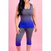 Pantalones De Dos Piezas De Poliéster Azul Impreso De Gradiente De Cuello En Forma De U Hermosa