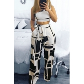 390a8561005e Lovely Chic Show A Shoulder Geometric Printed Black Qmilch Two-piece Pants  Set