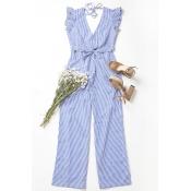 Lovely Sexy V Neck Backless Striped Blue Cotton Bl