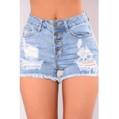 Lovely Trendy High Waist Broken Holes Baby Blue De