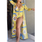 Lovely Sexy Lace-up Printed Yellow Polyester One-piece Swimwears(With Cover-up)