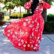 Lovely Bohemian V Neck Long Sleeves Floral Printed Red Chiffon Floor Length Dress