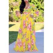 Precioso Bohemio Con Cuello En V Manga Larga Estampado Floral Gasa Amarilla Vestido Largo