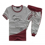 Lovely Casual Round Neck Printed Grey Cotton Two-p