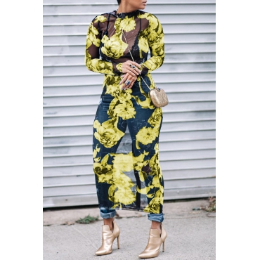 Lovely Sexy Round Neck See-Through Floral Printed Yellow Polyester Mid Calf Dress(Non Positioning Printing)