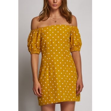 Lovely Euramerican Bateau Neck Dots Printed Yellow Rayon Mini Dress