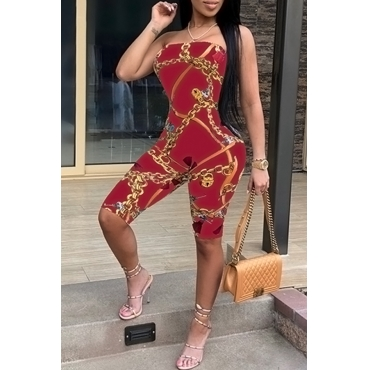 Lovely Sexy Dew Shoulder Chain Printed Wine Red Polyester One-piece Short Jumpsuits