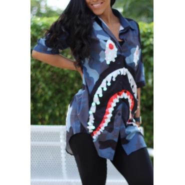 Lovely Leisure Turndown Collar Cartoon Printed Sequins Decoration Blue Cotton Blends Shirts