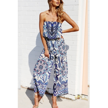 Lovely Chic Bateau Neck Drawstring Floral Printed Blue Polyester One-piece Jumpsuits