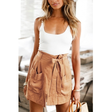 Lovely Casual U Neck Backless Patchwork Khaki Blending Two-piece Shorts Set