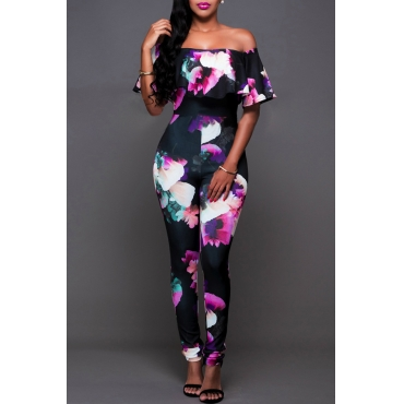 Lovely Sexy Bateau Neck Flounce Floral Printed Black Qmilch One-piece Jumpsuits