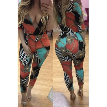 Lovely Stylish V Neck Grid+Chain Printing Polyester One-piece Jumpsuits