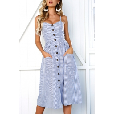 Lovely Fashion Spaghetti Strap Sleeveless Single Breasted Blue Cotton Blend Mid Calf Dress