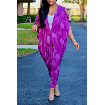 Lovely Leisure V Neck Batwing Sleeves Lace-up Printing Purple Polyester Two-Piece Pants Set