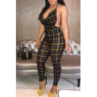 Lovely Sexy V Neck Backless Plaid Printed Black Cotton Blends One-piece Jumpsuits