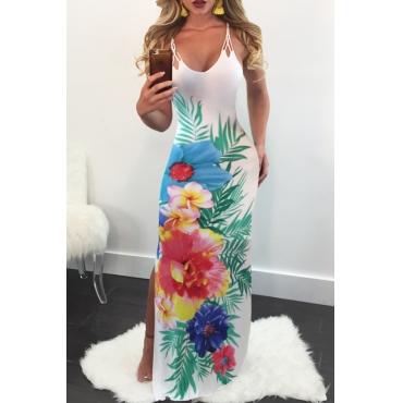 LovelyElegant V Neck Side Slit Floral Printed White Milk Fiber Floor Length Dress